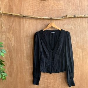 Reformation button down long sleeve top